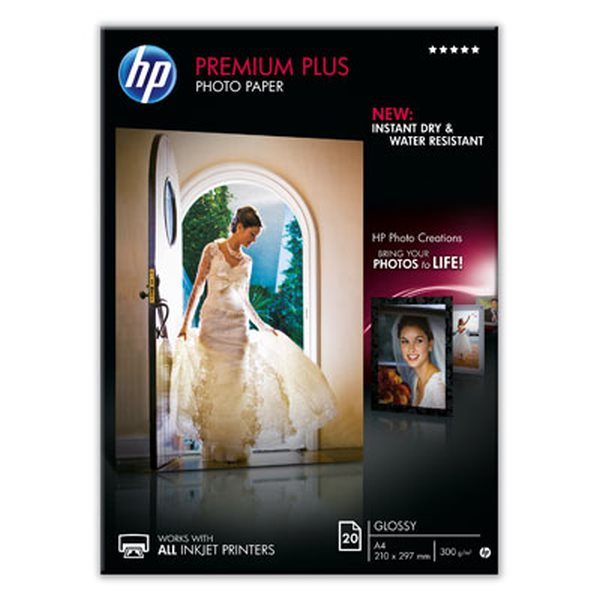 HP Premium Plus Glossy Photo Paper-20 sht/A4/210 x 297 mm, 300 g/m2, CR672A