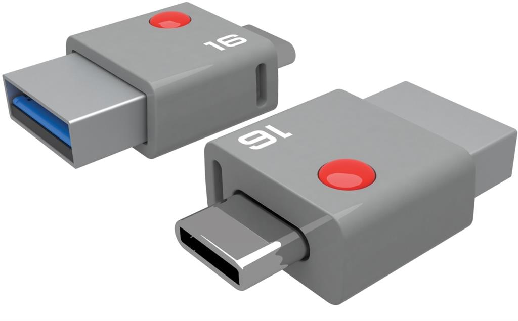 Emtec memory 16GB USB 3.0 & Type-C connector T400 (110MB/s, 20MB/s)