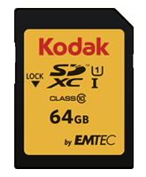 Kodak memory card 64GB SDXC Class 10 UHS-I U1 85/20MB/s