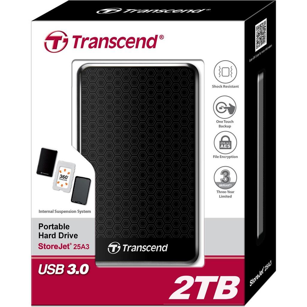Transcend StoreJet 25A3 2TB USB 2.0/3.0 2,5'' HDD antishock / fast backup