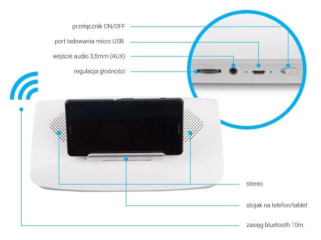 Natec FINCH Bluetooth reproduktor s držákem pro tablet/smartphone, bílý