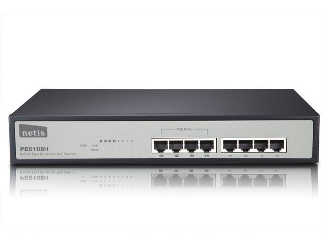 Netis Switch POE 19'' 8-port 100 MB (4 ports POE, 15,4W/Port, max 62W)