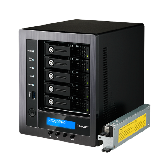 Thecus 5-Bay tower NAS Quad Core Celeron™J1900 2.0 GHz 4GB DDR3 miniUPS