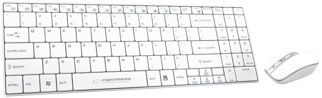 Esperanza EK122W bezdrátová klávesnice, nízkoprofilová, US + myš, 2.4GHz, bílá