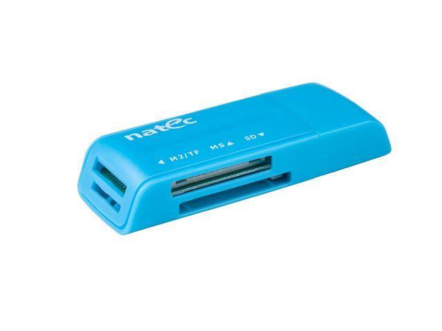 Natec MINI ANT 3 Čtečka karet SDHC/MMC/M2/MicroSD USB 2.0, modrá