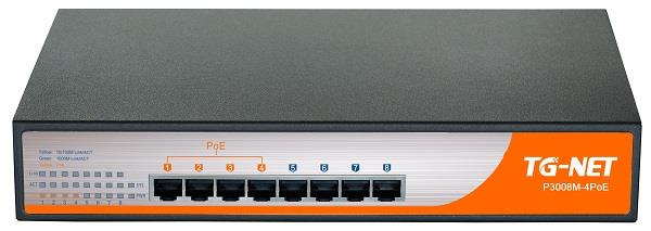 TG-Net GbE Managed Switch 8 1000BaseT Ports (4 PoE, 65W)