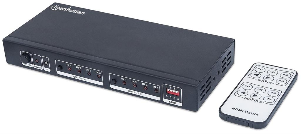 Manhattan switch/splitter HDMI Matrix 4 vstupy 2 výstupy EDID dálkový ovladač