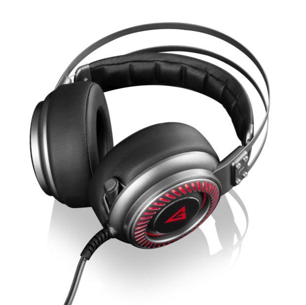 Modecom VOLCANO MC-833 SABER headset, herní sluchátka s mikrofonem, USB 2.0, 2,4m kabel, šedá/červené LED podsvícení