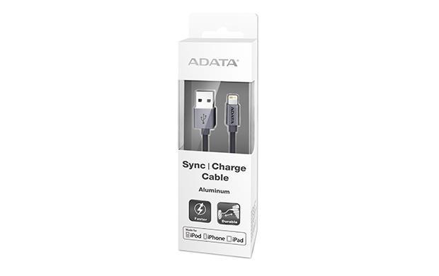 ADATA Sync & Charge Lightning kabel - USB A 2.0, 100cm, hliníkový, titanový