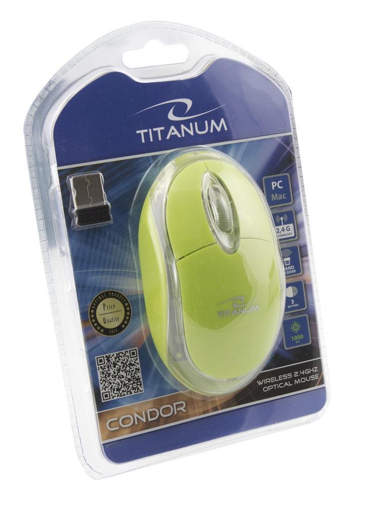 Titanum TM120G CONDOR Bezdrátová optická myš, 2.4GHz, 1000 DPI, zelená