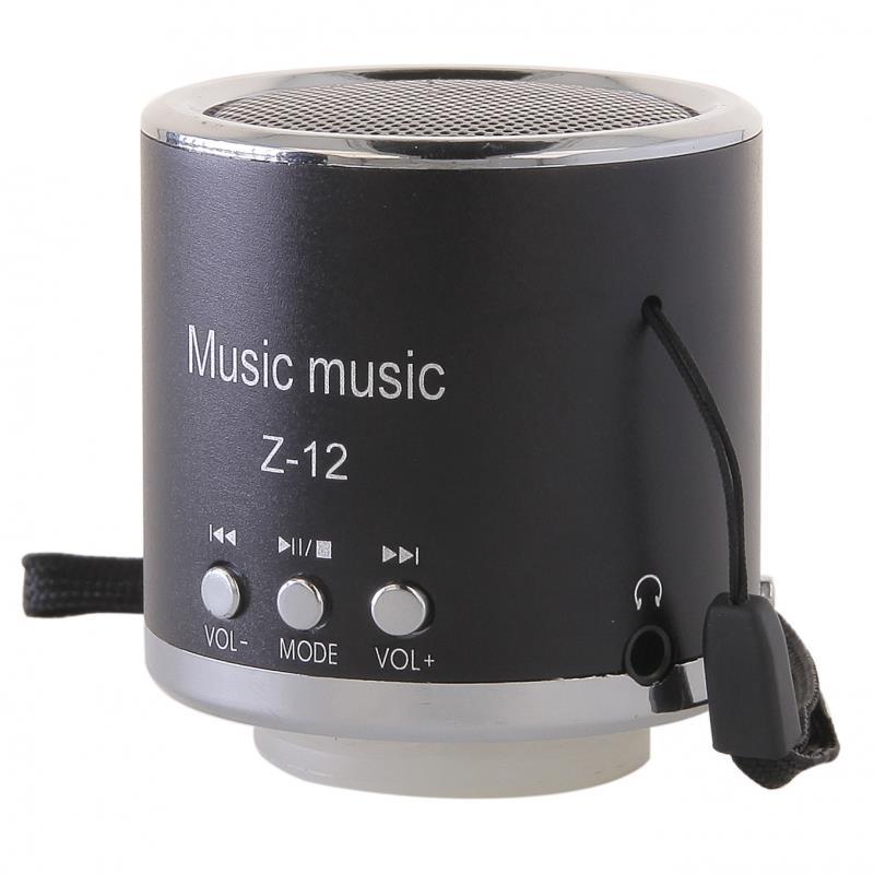 GT Z-12 přenosný mini reproduktor, FM rádio, RMS 3W, SD, USB, černý