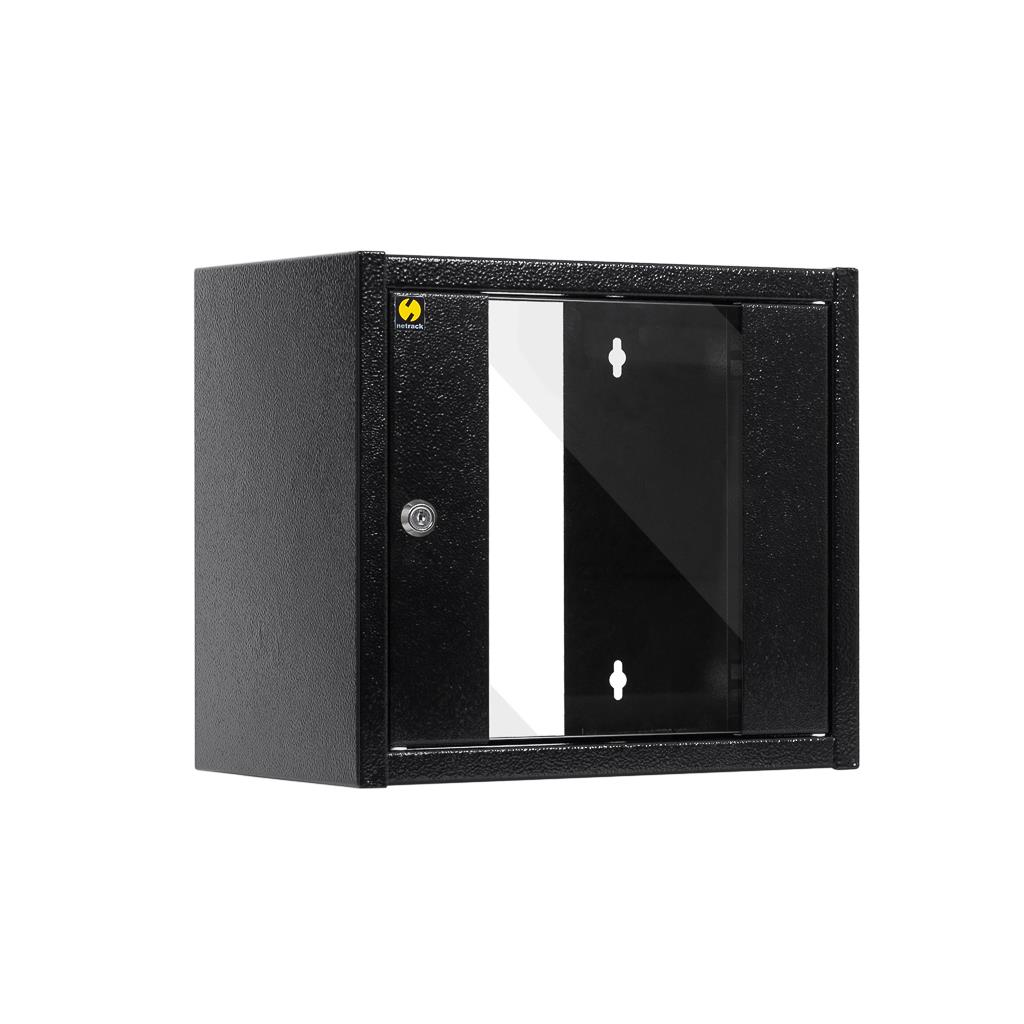 Závěsný datový rozvaděč 10'' Netrack 6U/300 mm, barva grafit, skleněné dveře