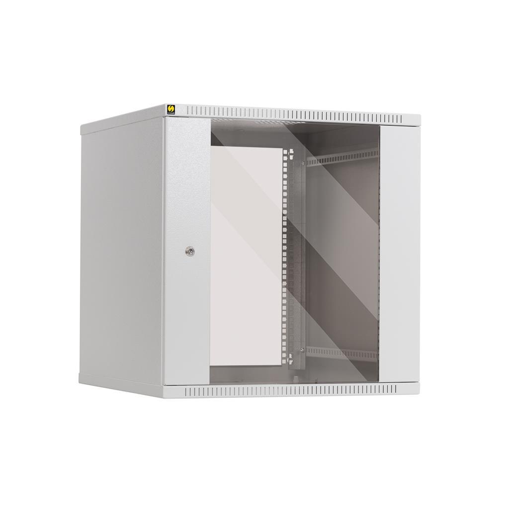 Netrack závěs./stoj. rack 19'' 12U/600mm, skleněné dveře, barva šedá