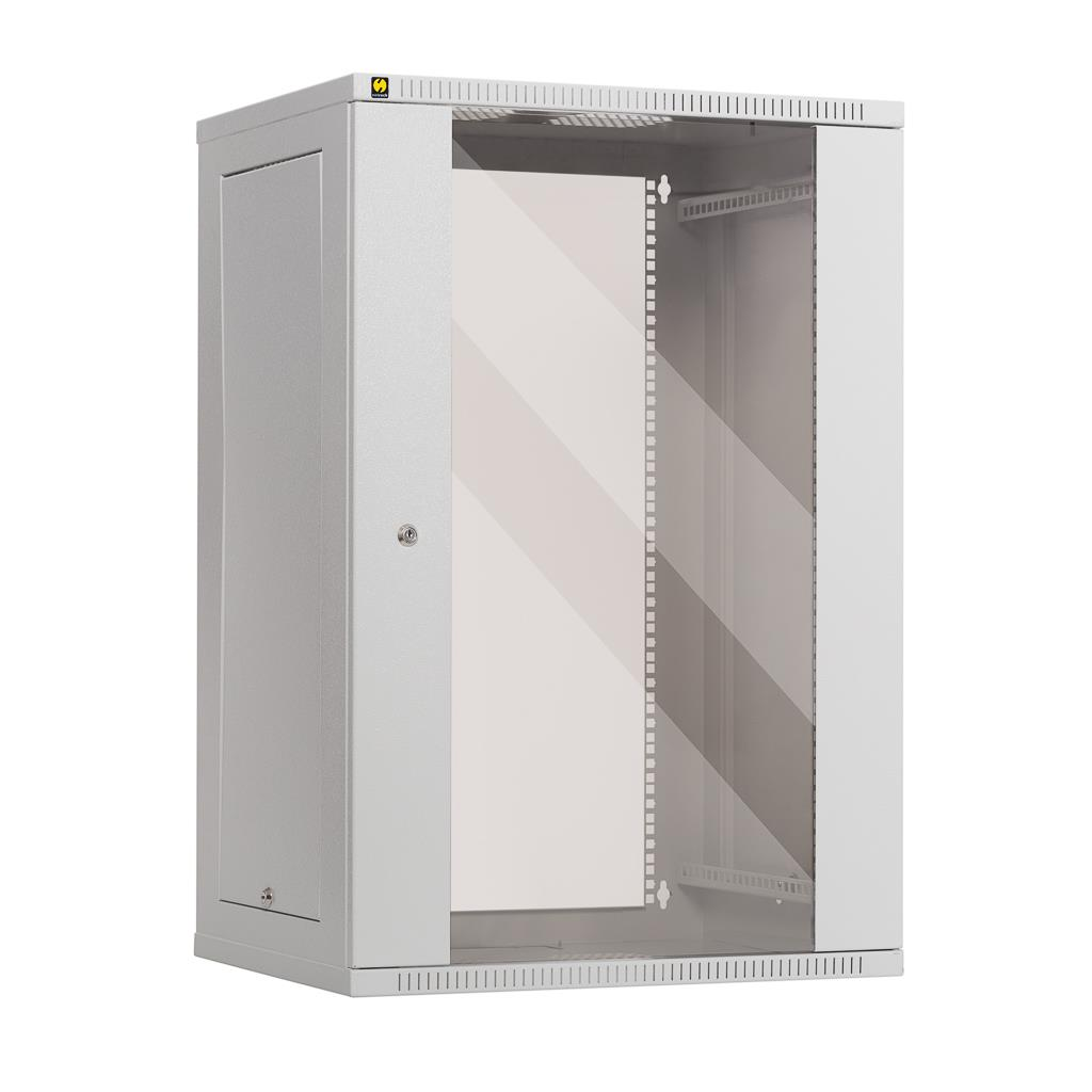 Netrack závěs./stoj. rack 19'' 18U/450 mm, skleněné dveře, šedý, odnímat. boč.pa