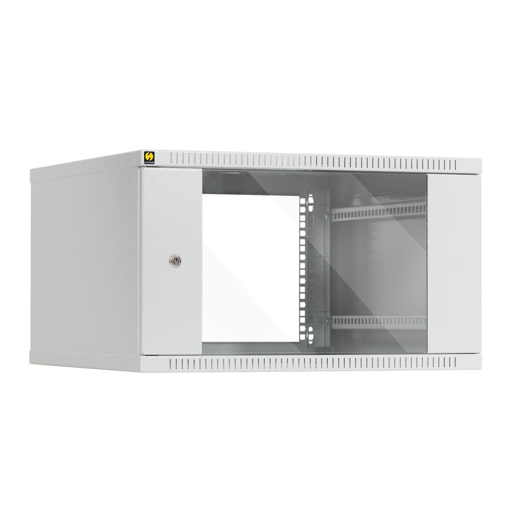 Závěsný datový rozvaděč 19'' Netrack 6U/600 mm, prosklené dveře, barva šedá