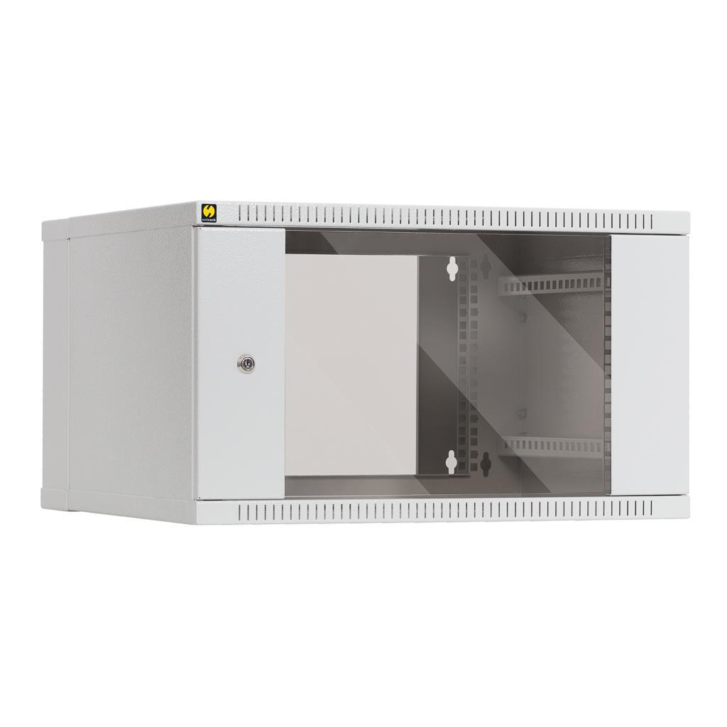 Netrack závěsný rack 19'' 6U/550 mm, skleněné dveře, dvojdílný, barva popelavá