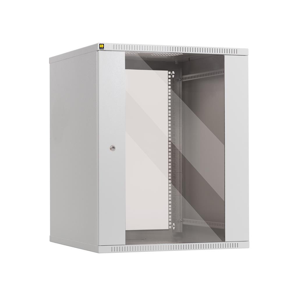 Netrack závěs./stoj. rack 19'' 15U/600 mm, skleněné dveře, barva popelavá
