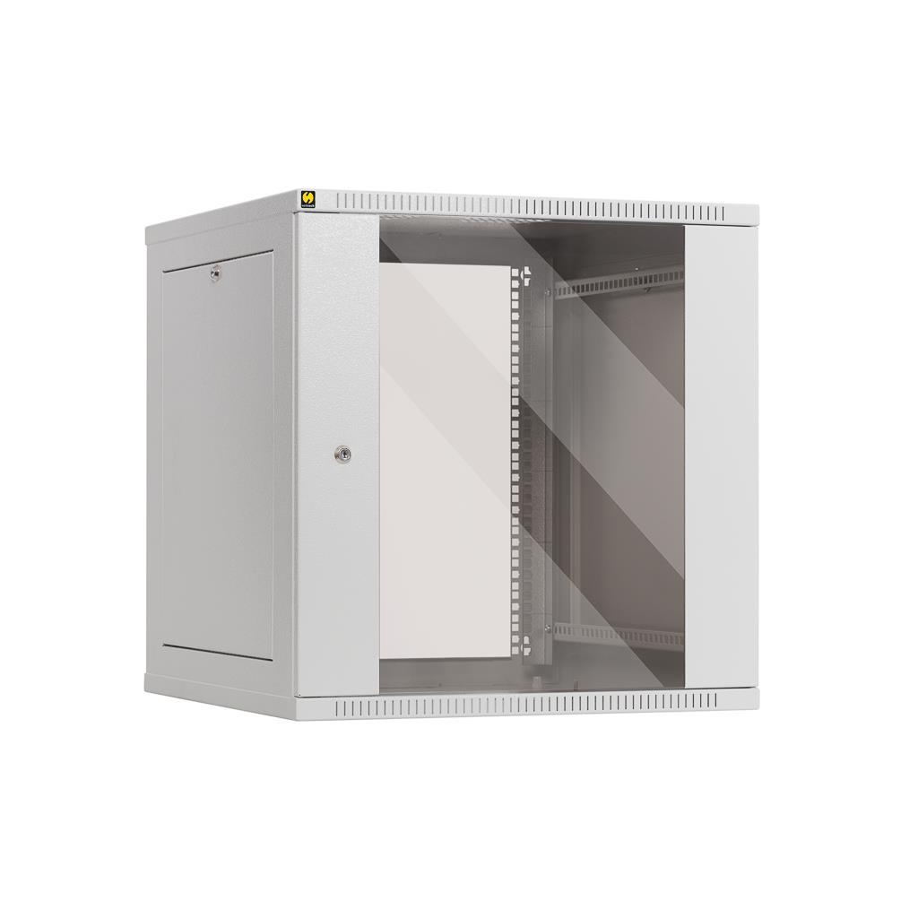 Netrack závěs./stoj. rack 19'' 12U/600 mm, skleněné dveře, šedý,odnímat.boč.pan.