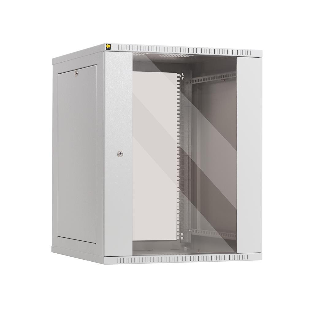 Netrack závěs./stoj. rack 19'' 15U/600 mm, skleněné dveře, šedý, odnímat. boč.pa