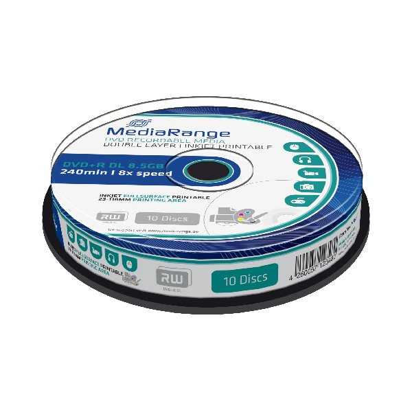 MEDIARANGE DVD+R 8,5GB 8x DoubleLayer PRINTABLE Cake 10