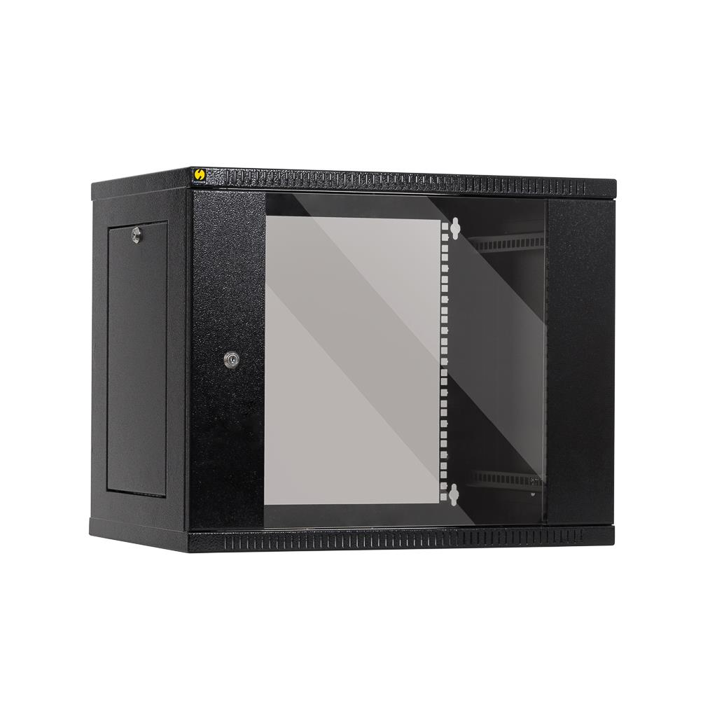 Závěsný rack 19'' Netrack 9U/400mm,skleněné dveře,grafit,odnímatelné boční panel