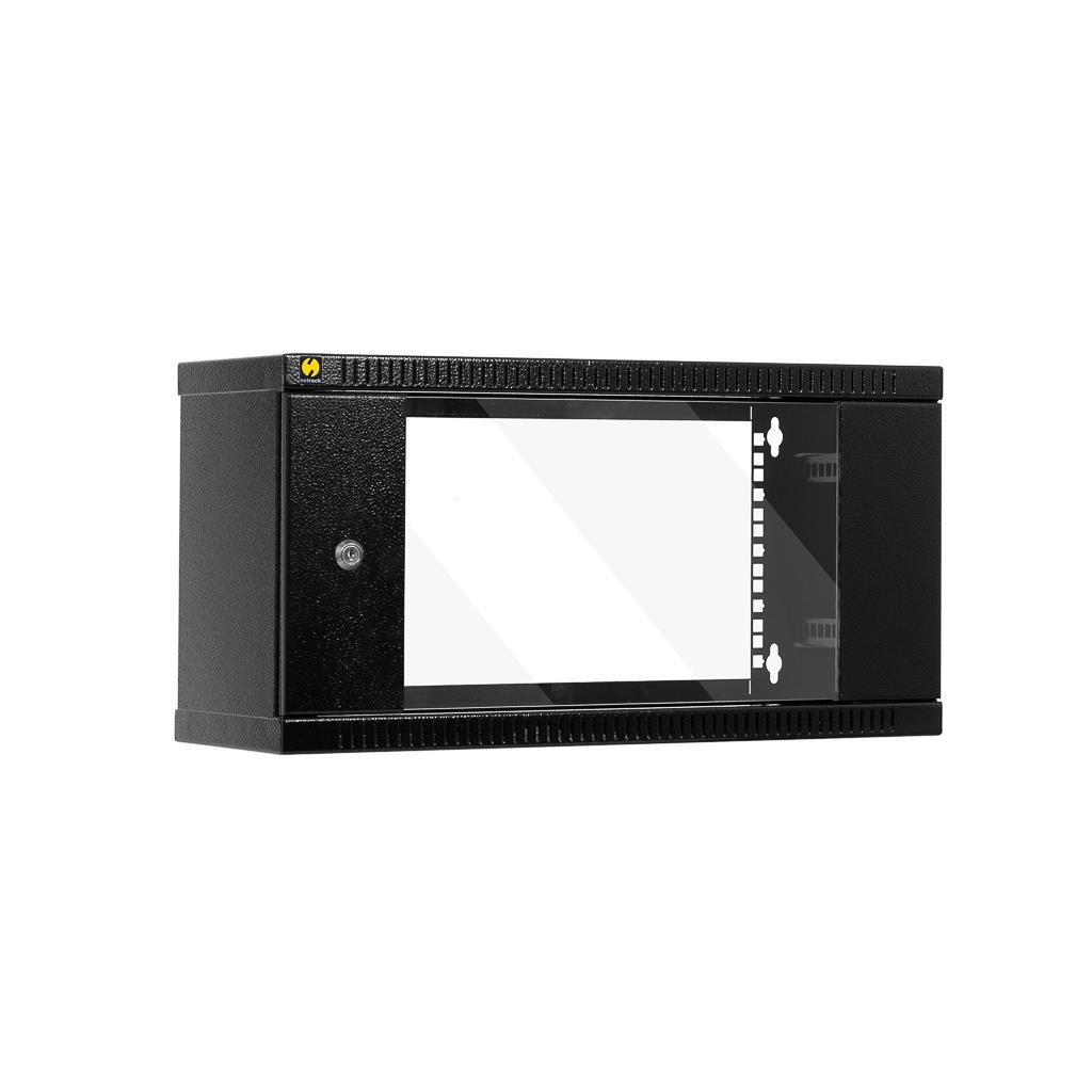 Závěsný datový rozvaděč 19'' Netrack 4.5U/240mm, skleněné dveře, barva grafit