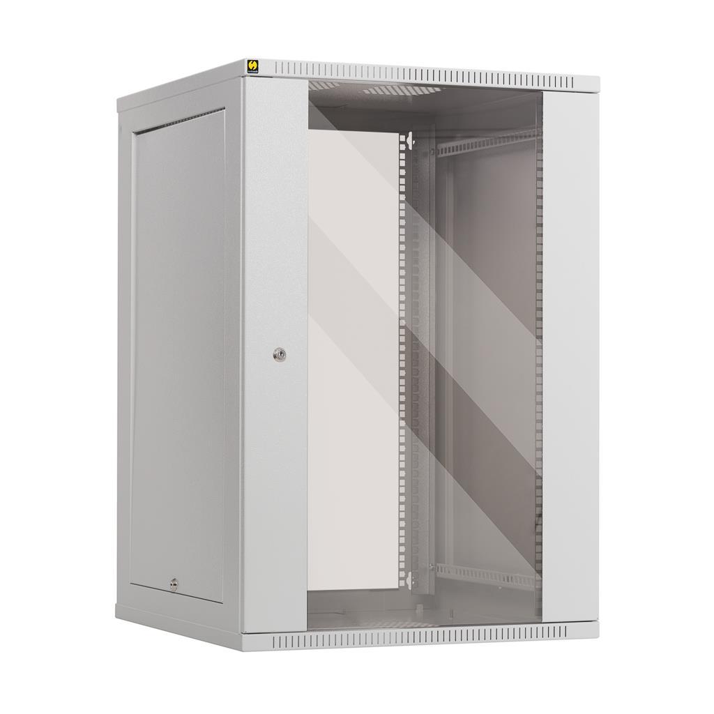 Netrack závěs./stoj. rack 19'' 18U/600 mm, skleněné dveře, šedý, odnímat. boč.pa