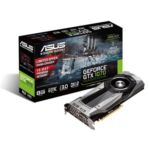 ASUS GeForce GTX 1070, 8GB GDDR5 (256 Bit), HDMI, DVI, 3xDP