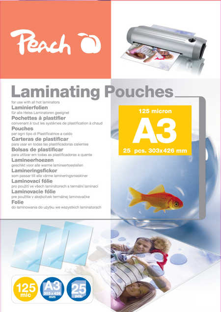 PEACH laminovací folie A3 (303x426mm) Laminating Pouch, 125mic, 25ks