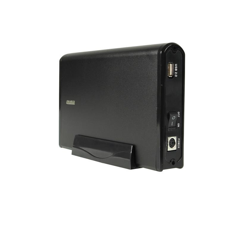 4World Hliníkové pouzdro na jednotky HDD 3.5'' SATA, barva černá