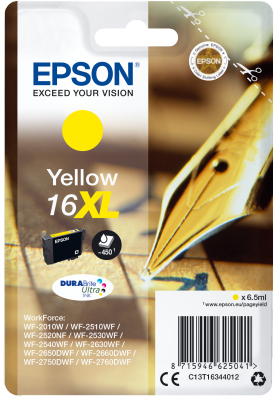 Epson Singlepack Yellow 16XL DURABrite Ultra Ink