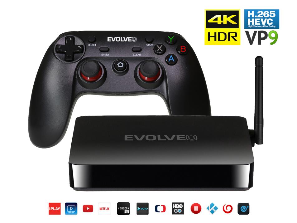 EVOLVEO Android Box H4 Plus, multimediální herní centrum s bezdrátovým gamepadem