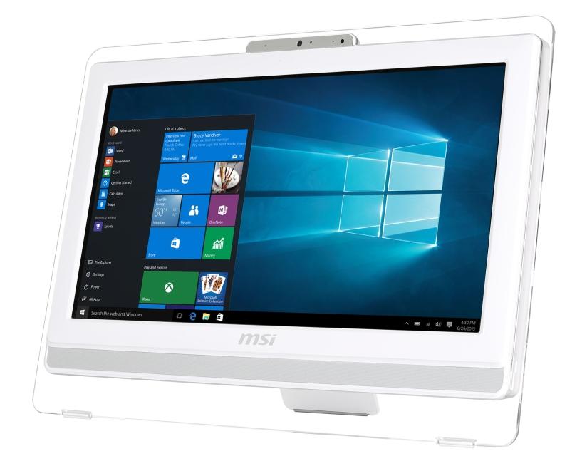"MSI AIO Pro 20ET 4BW-044EU Multi Touch/ Braswell N3160/4GB/1TB/DVD/RW/HD Graphics/19.5""/WHITE/Win 10 Home"