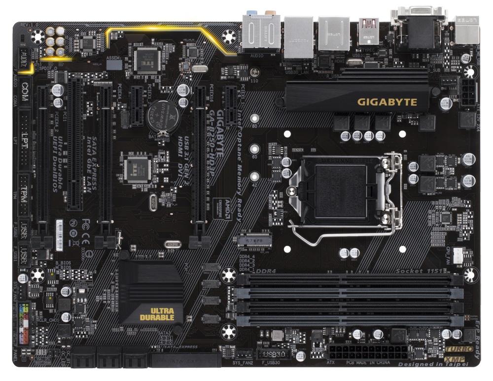 GIGABYTE MB Sc LGA1151 GA-B250-HD3P, Intel B250, 4xDDR4, VGA, DVI, HDMI, ATX