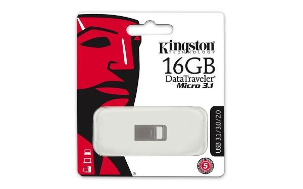 Kingston DataTraveler Micro 16GB USB 3.1/3.0 flashdisk, stříbrný