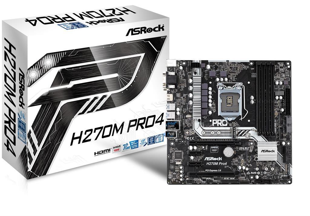 ASRock H270M Pro4, INTEL H270 Series,LGA1151,4 DDR4, 2 x M.2 (for SSD)