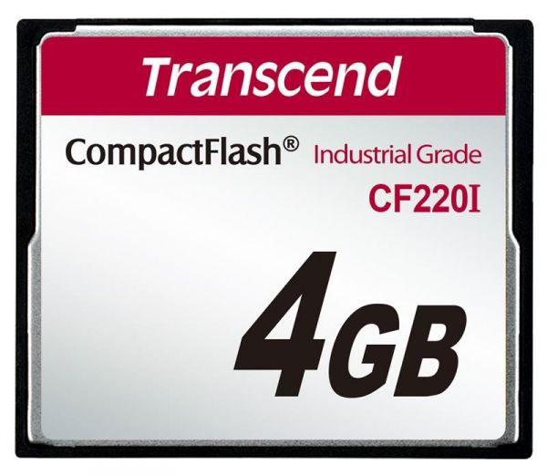 Transcend 4GB INDUSTRIAL TEMP CF220I CF CARD (SLC) Fixed disk and UDMA5