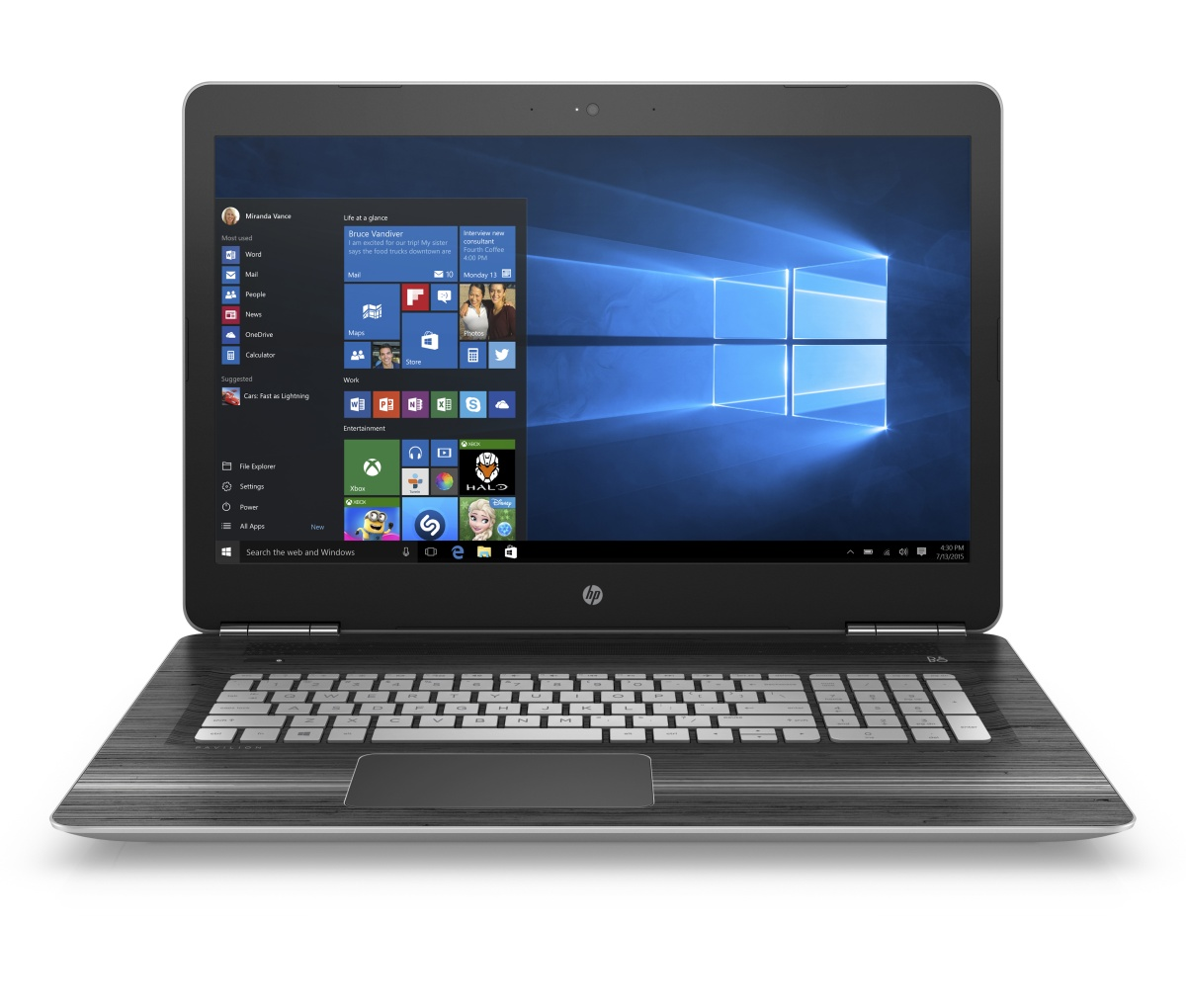 "HP Pavilion gaming 17-ab201nc/Intel i7-7700HQ/8GB/128 GB SSD M.2 + 1TB/DVDRW/ GTX 1050 4GB/17,3"" FHD/Win 10/stříbrná"