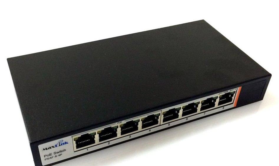 MaxLink PSAF-8-4P PoE switch, 8x LAN/4x PoE, 802.3af, 60W, 10/100Mbps