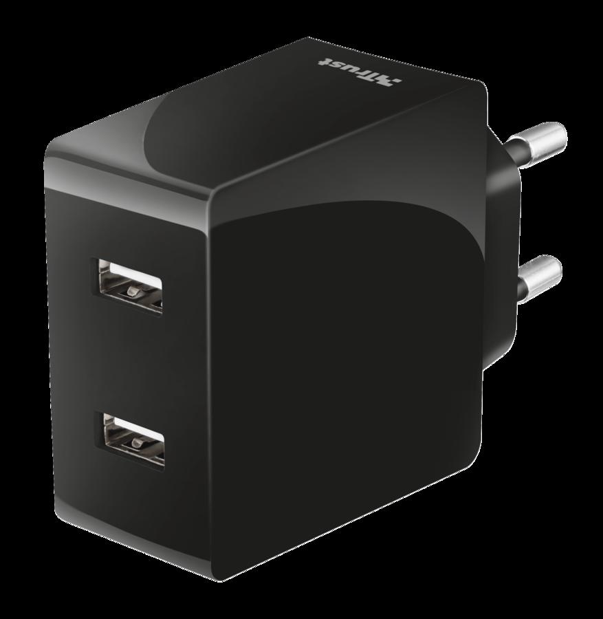 nabíječka TRUST Fast Dual Wall Charger, USB, 2x12W