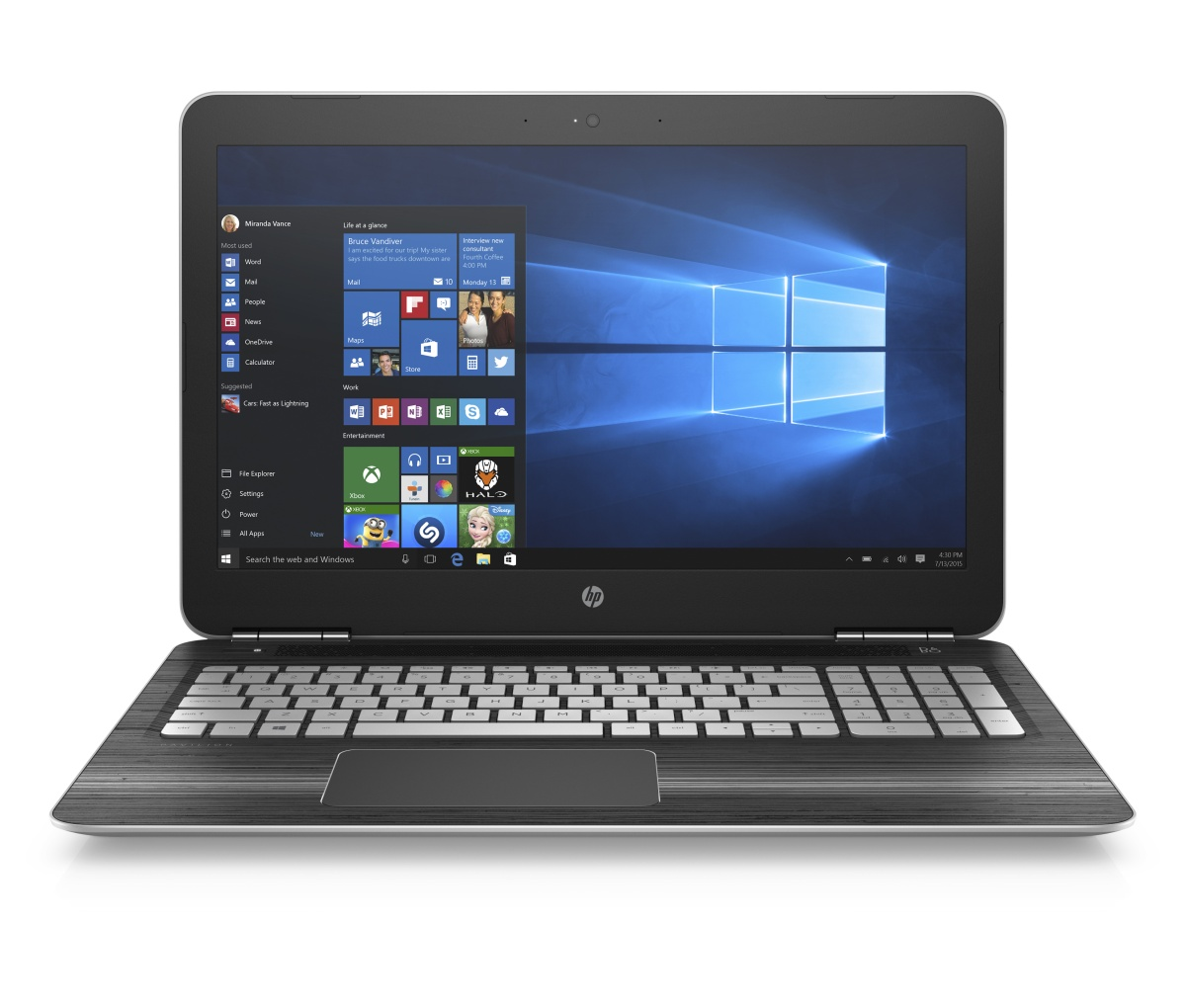 """HP Pavilion gaming 15-bc203nc/Intel i7-7700HQ/16GB/256 GB SSD + 1TB/ GTX 1050 4GB/15,6"""" UHD/Win 10/stříbrná"""