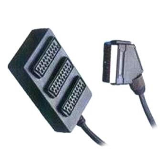 PremiumCord Adapter SCART-3xSCART F, kabel 0,4m
