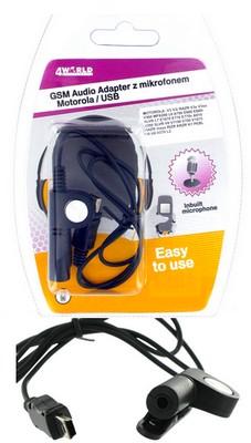 4World Audio adaptér s mikrofonem pro Motorola USB V3/3i RAZR V3x/3xx L6 A780