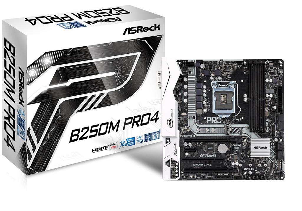 ASRock B250M Pro4, INTEL B250 Series,LGA1151,4 DDR4, 2 x M.2 (for SSD)