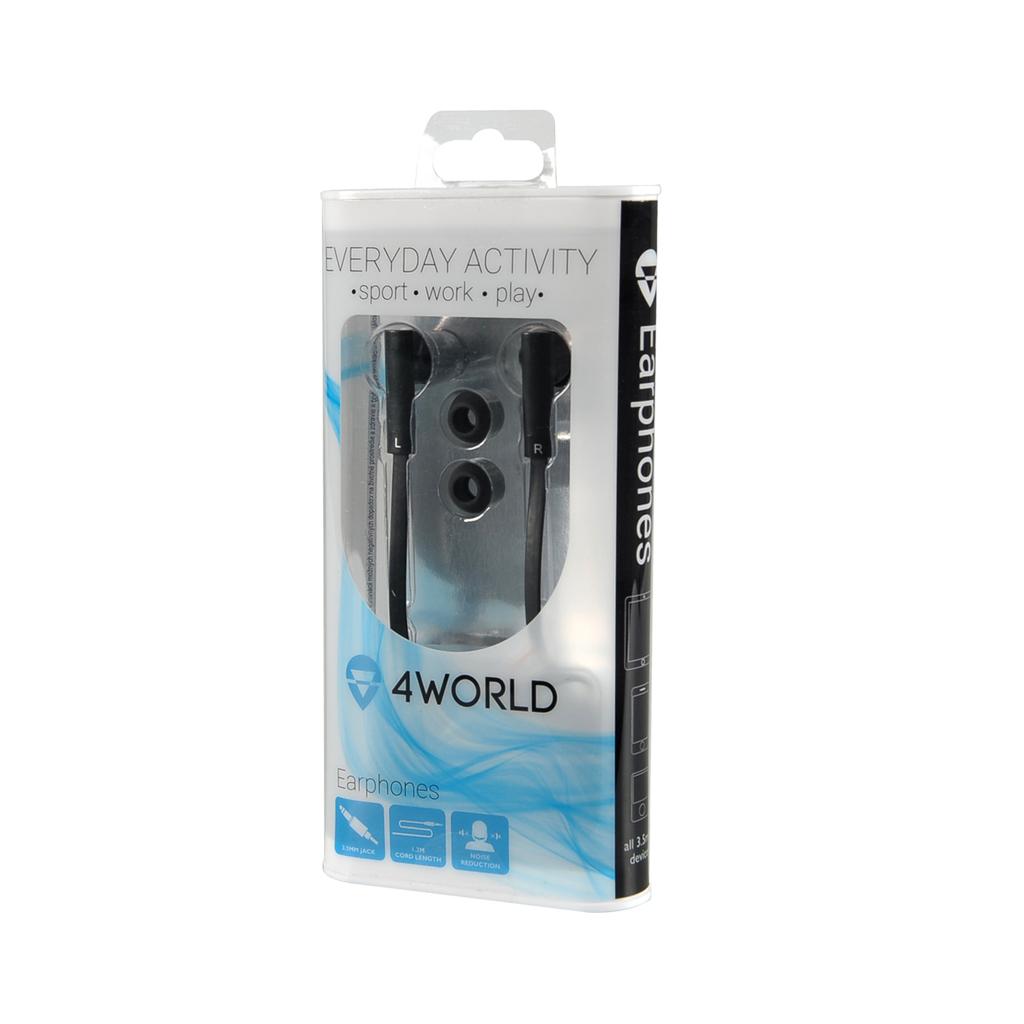 4World Sluchátka MP3 Flat 3.5mm 1.2m Black