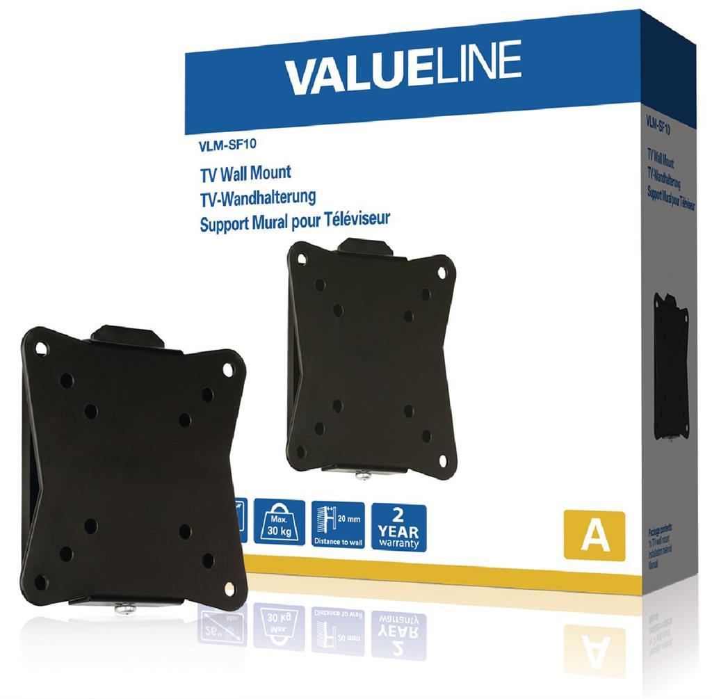 Valueline Nástěnný držák televizoru, pevný, 10 až 26'' / 25 až 66 cm, 30 kg