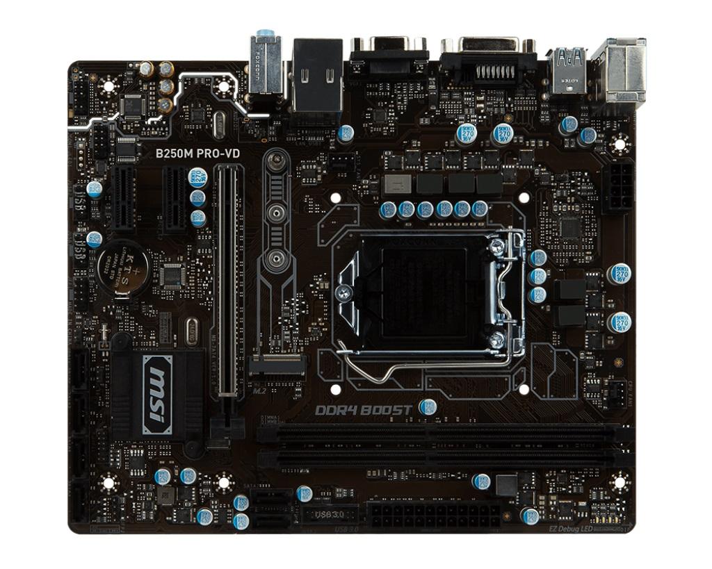 MSI B250M PRO-VD 1151, DDR4, 2x PCI-E x1, 6x SATAIII, DVI, D-Sub, uATX, Coffee