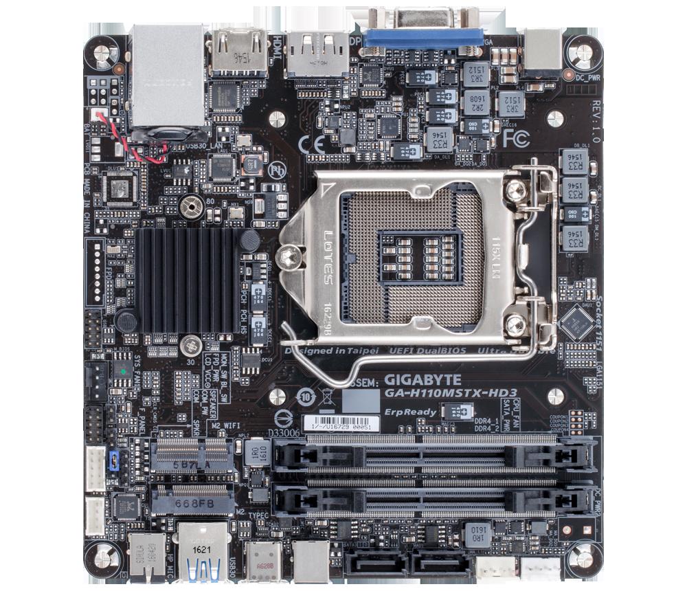 GIGABYTE MB Sc LGA1151 GA-H110MSTX-HD3, Intel H110, 2xDDR4, VGA, HDMI, DP, mSTX