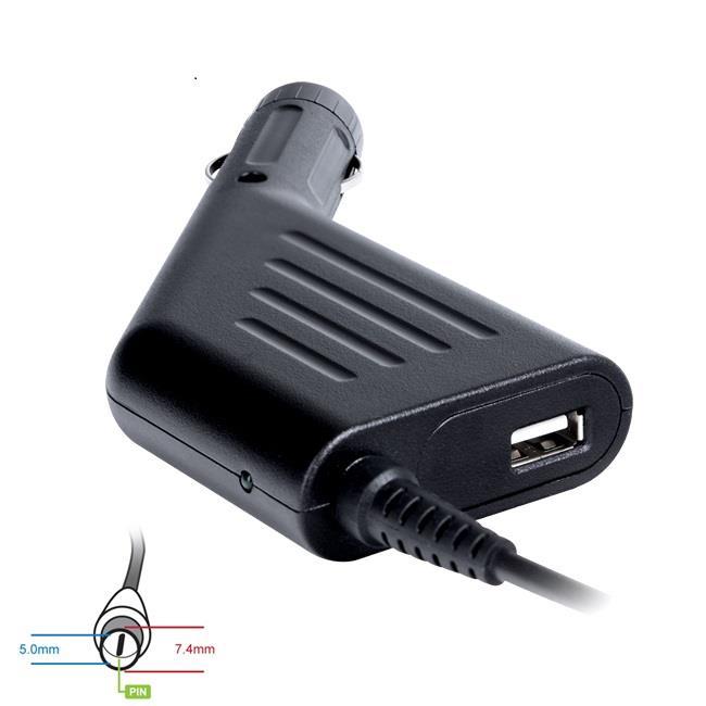 Digitalbox napájecí adaptér do auta pro HP 18.5V/3.5A 65W, (7.4x5.0+pin) USB