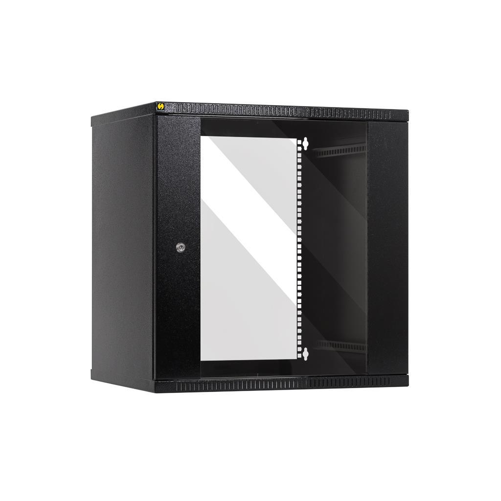 Netrack závěs./stoj. rack 19'' 12U/450 mm, skleněné dveře, barva grafit